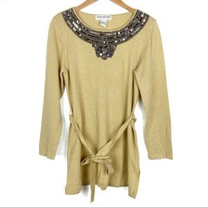 LAUREN MICHELLE top Large gold beading belted t506